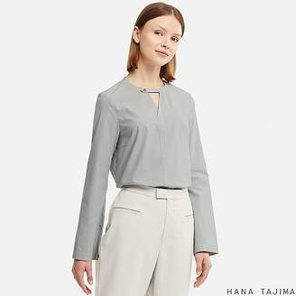 Uniqlo Women's Hpj Flare Striped Long-sleeve Blouse