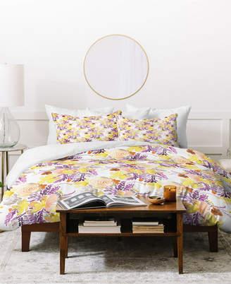 Deny Designs Ninola Design Flowers Sweet Bloom Yellow Duvet Set Bedding