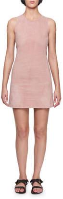Victoria Beckham Victoria Crewneck Sleeveless Fitted Skimmer Suede Mini Dress