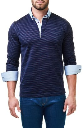 Men's Maceoo Circle Contemporary Fit Polo With Woven Cuffs $118 thestylecure.com