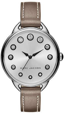 Marc Jacobs Marc Jacobs Betty Stainless Steel and Leather Crystal Accented Strap Watch, SLMLG36SSTNSTRP