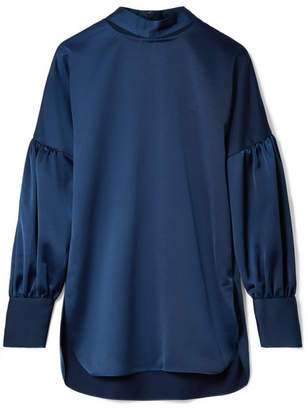 By Malene Birger Allica Cutout Washed-satin Blouse - Storm blue