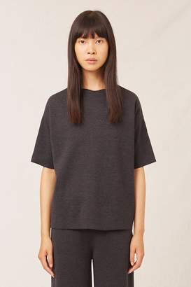 Mansur Gavriel Wool Milano Short Sleeve Sweater - Dark Grey Melange