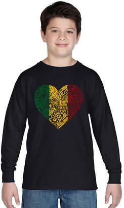 LOS ANGELES POP ART Los Angeles Pop Art One Love Heart Long Sleeve Boys Word Art T-Shirt