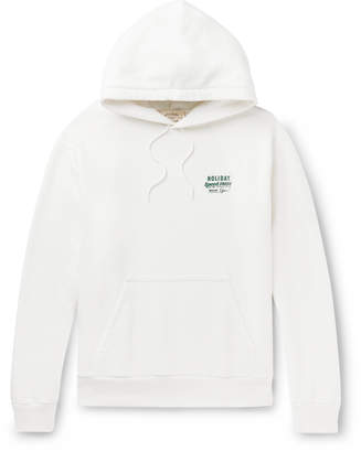 Holiday Boileau Printed Loopback Washed-Cotton Jersey Hoodie - Men - White