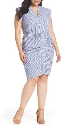 Chelsea28 Stripe Ruched Cotton Shirtdress