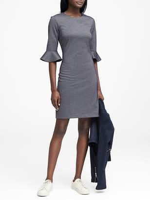 Banana Republic Herringbone Ponte Flutter-Sleeve Dress