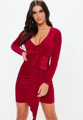 Missguided Red Velvet Plunge Drape Mini Dress