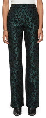 Anine Bing Cindy Leopard Jacquard Satin Trousers