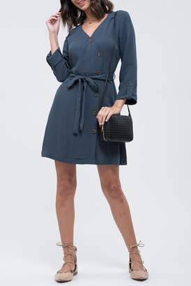 Blu Pepper Front Wrap Button Down Dress