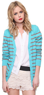V-Neck Striped Cardigan