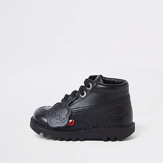 Kickers Mini kids black lace-up boots