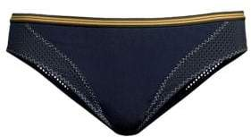 Stella McCartney Classic Stripe Trim Mesh Insert Bikini Bottom