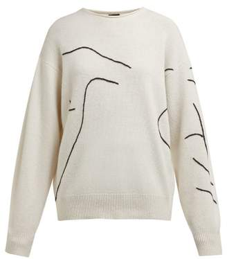 Joseph Abstract Embroidered Wool Sweater - Womens - Ivory Multi