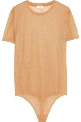 Alix Essex Metallic Stretch-Knit Thong Bodysuit