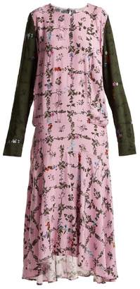 Preen Line Rowen Vine And Floral Print Crepe Dress - Womens - Pink Multi