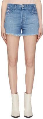 J Brand 'Gracie' frayed cuff paint splatter denim shorts