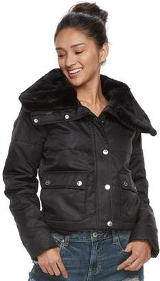 Urban Republic Juniors' Faux-Fur Trim Crop Puffer Jacket