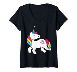 Womens Cute Unicorn Magic Pentagram Pink Star Tattoo Artwork V-Neck T-Shirt
