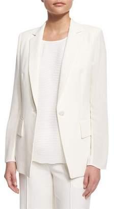 Lafayette 148 New York Lorelle One-Button Cotton/Silk Jacket, Cloud $648 thestylecure.com