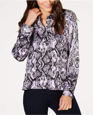 INC International Concepts I.N.C. Snake-Embossed Blouse, Created for Macy's