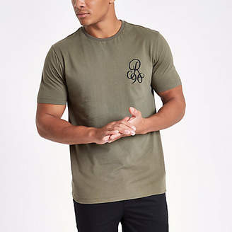 River Island Khaki slim fit chest embroidered T-shirt