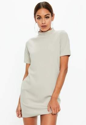 Missguided Gray High Neck Short Sleeve Shift Dress