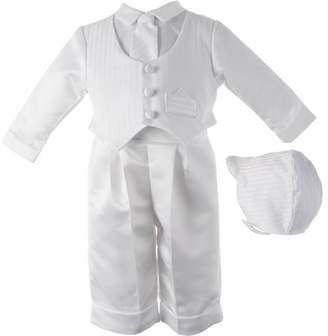 Haddad Brothers Christening Baptism Newborn Baby Boy Special Occasion Three Pc Satin Long Pant Outfit w/ Striped Vest Comes w/ Matching Hat