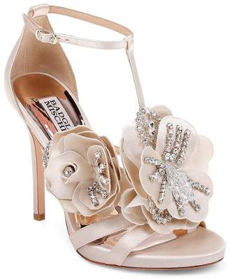 Badgley Mischka Women's Lisa Embellished Satin Floral Appliqué High-Heel Sandals