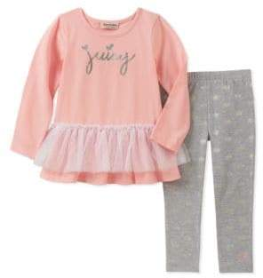 Juicy Couture Little Girl's Two-Piece Long-Sleeve Tulle Tunic and Leggings Set