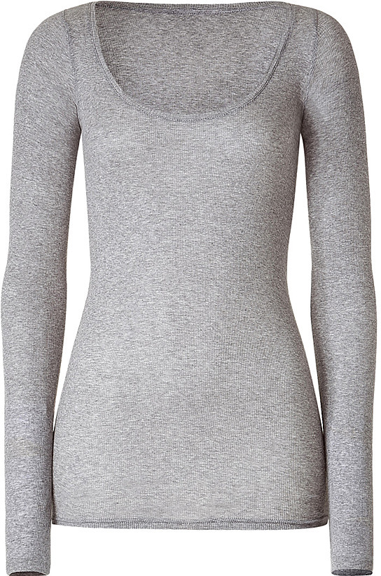 AMERICAN VINTAGE Pebble Heather Ribbed Scoop Neck T-Shirt