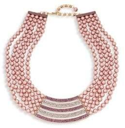 Heidi Daus Multi-Color Rhinestone Bar Pendant Bib Necklace