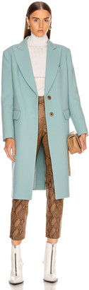 Smythe Peaked Lapel Overcoat in Mineral Blue | FWRD