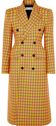 Balenciaga Checked Double-breasted Wool Coat - Yellow