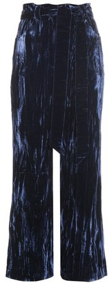 Wales Bonner Prosper Crushed Velvet Flared Trousers - Womens - Navy