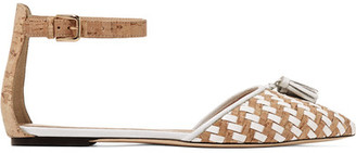J.Crew - Macklin Tassel-trimmed Cork And Leather Point-toe Flats - White $160 thestylecure.com