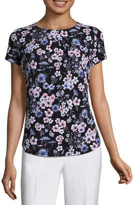 Liz Claiborne Short Sleeve Pleated Knit Top