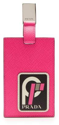 Prada Security Clip On Leather Cardholder - Womens - Pink Multi