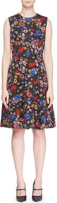 Erdem Yesim Sleeveless Floral-Print Button A-Line Dress