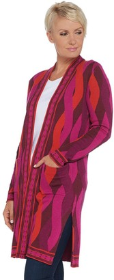 Isaac Mizrahi Live! Geo Cable Jacquard Knit Duster Cardigan