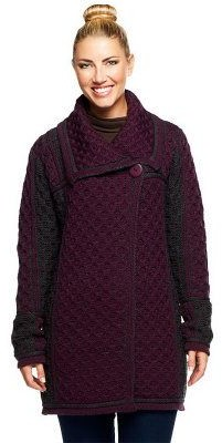Aran Craft Merino Wool Colorblock One Button Long Cardigan