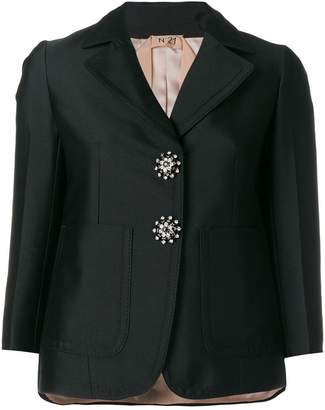 No.21 crystal button blazer
