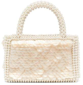 Shrimps Pax Shell Sequin And Faux Pearl Embellished Bag - Womens - White
