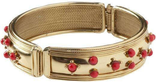 Women's Gold and Coral-Bead Bangles