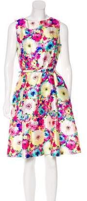Oscar de la Renta Silk Floral Print Dress