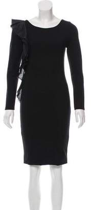 Alice + Olivia Ruffle-Accented Knee-Length Dress