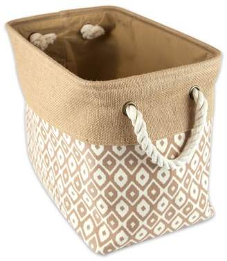"""DII Collapsible Burlap Storage Basket or Bin with Durable Cotton Handles, Home Organizational Solution for Office, Bedroom, Closet, Toys, & Laundry (Medium - 16x10x12""""), Brown Ikat"""