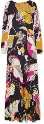 Emilio Pucci Printed Silk Crepe De Chine Maxi Dress - Black