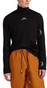 A-Cold-Wall* Men's Back-Zip Logo Cotton Turtleneck Top - Black