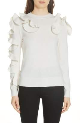 Ted Baker Pallege Frill Sleeve Wool Blend Sweater